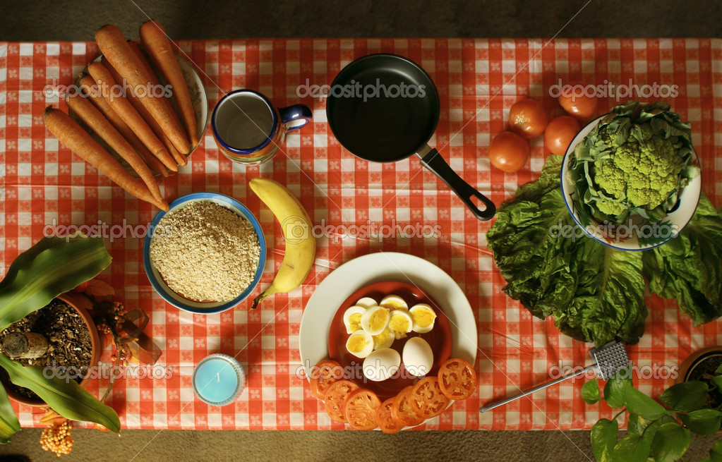 Food ready to be prepared on table from an above perspective — Stock Photo #8471938