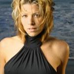 Fashion portrait of a sexy blond female model — Stock Photo