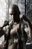 Primitive Warrior outdoors — Stock Photo