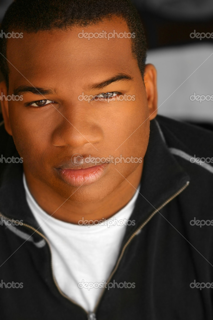 Close-up portrait of young African American man — Stock Photo #8488092