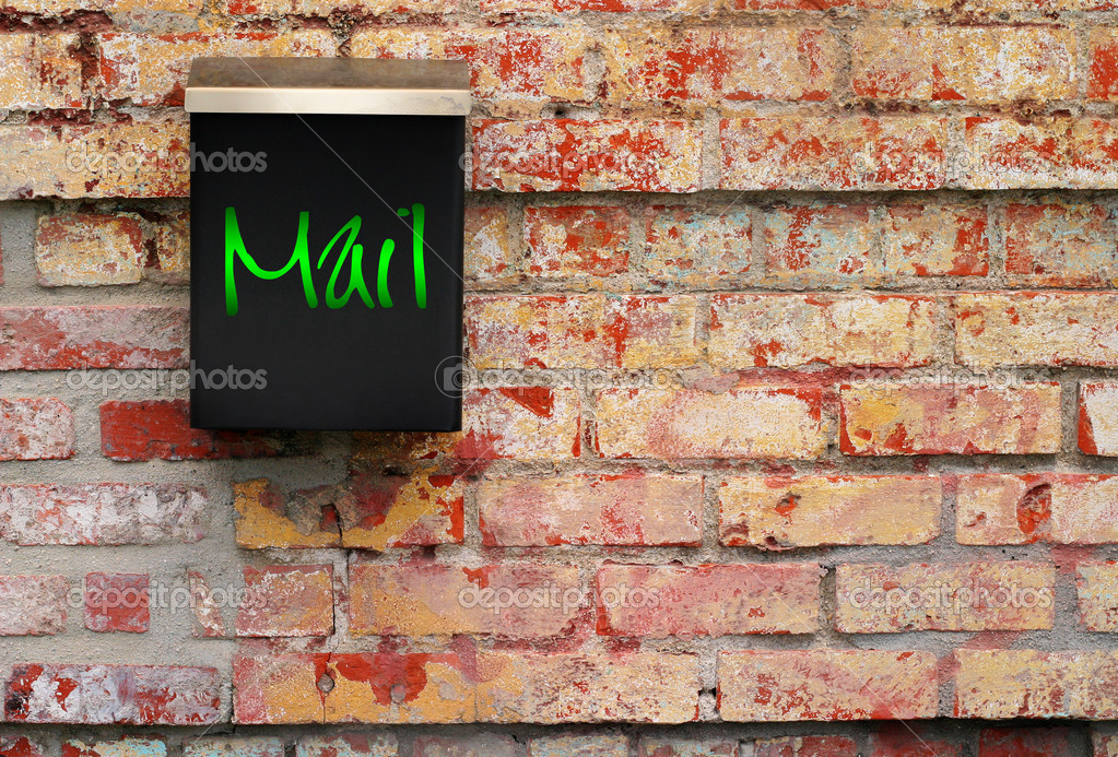 Very modern mail box against old brick wall — Foto Stock #8488484