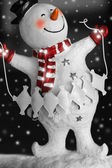 Smiling Snowman with snow — Stock Photo