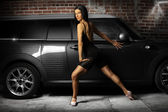 Hot woman and car — Stock Photo