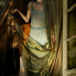 Woman and fabric - Stockfoto