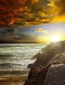 日落和海洋 — 图库照片