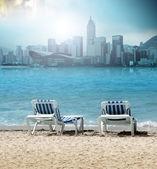 Due sedie da spiaggia — Foto Stock