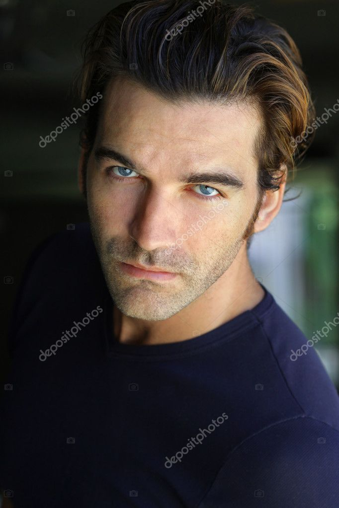 Close-up portrait of young good looking male model — Stock Photo #8501409