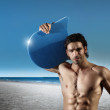 Hunk on beach — Stock Photo