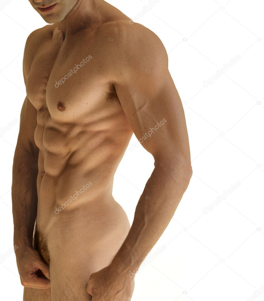 Body portrait of a muscular nude male body against white background — Stock Photo #8510943