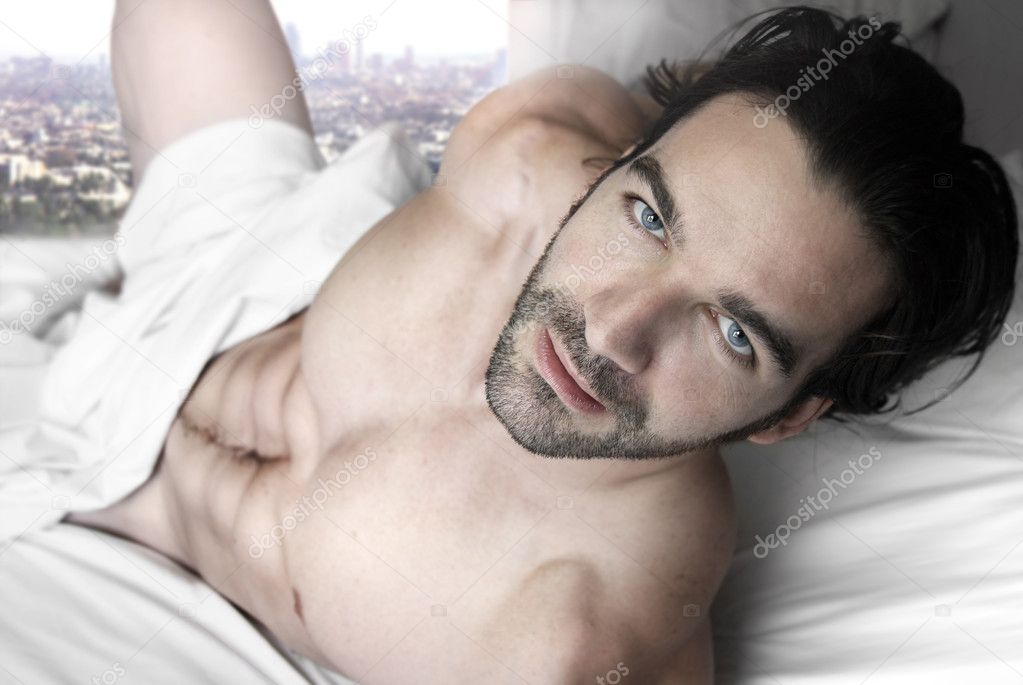 Man In Bed Stock Sleeping Naked Healthy