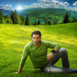 Man on grass - Stock Photo