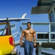 Hunk on beach — Stock Photo #8521958