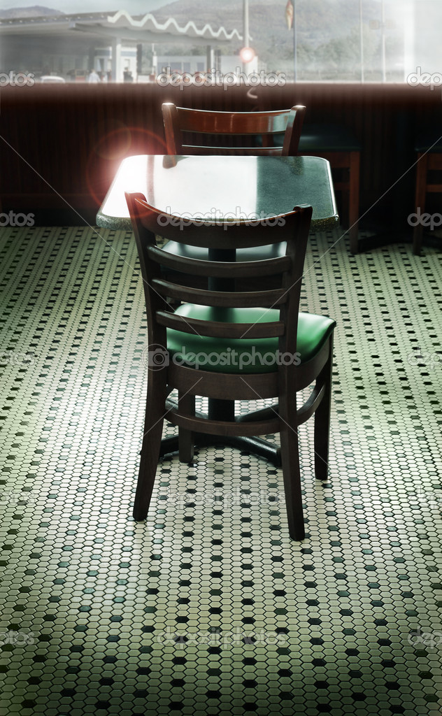 Stylized interior of a retro diner with tiled floor and large window with a slight overall green tint — Stock Photo #9093237
