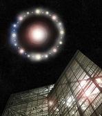 UFO above building — Stock Photo