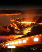Glowing boxcar — Stock Photo