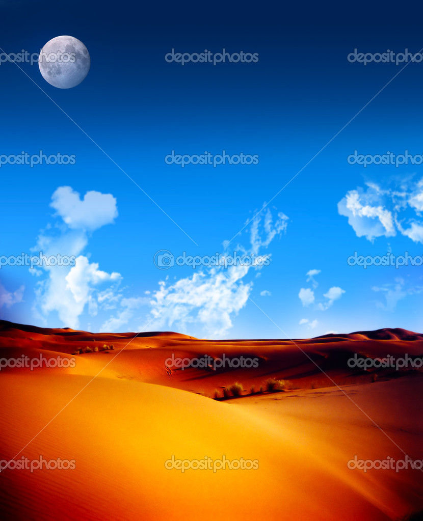 Red sand dunes in Morocca with bright blue sky and fluffy clouds and moon — Stock Photo #9393338