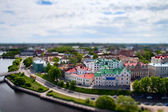 Faked tilt shift tonw Wyborg, Russian - Finland border. — Stock Photo
