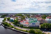 Faked tilt shift tonw Wyborg, Russian - Finland border. — Stock Photo