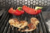 Vegetables and chicken on the grill — Stock Photo