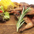 Grilled quail and vegetables - Stock Photo
