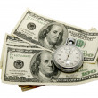Stock Photo: Dollars and a stopwatch