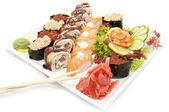 Large plate of sushi — Stock Photo