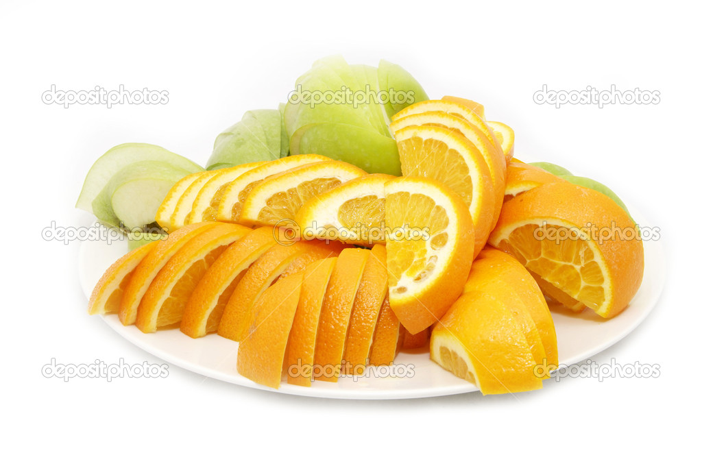 Plate with a slice of oranges on a white background — Stock Photo #9116953