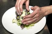Preparation of lettuce — Stock Photo