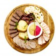 Stock Photo: Wooden plate with sausage