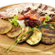 Grilled vegetables and meats — Stock Photo