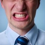 Angry man shouting at camera. Close up — Stock Photo
