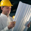 Adult male engineer holding building blueprints — Stock Photo