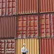 Stock Photo: Businessman with cargo containers