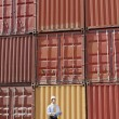 Businessman with cargo containers - Stock Photo