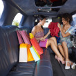 Women shopping in limousine - Stock Photo