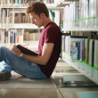 Guy studeren in bibliotheek — Stockfoto #9303344