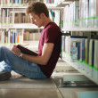 Stock Photo: Guy studying in library