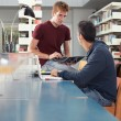 Two guys studying in library - Stock Photo