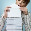Businesswoman sending mail - Stock Photo
