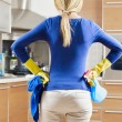 Woman doing housekeeping - Stock Photo