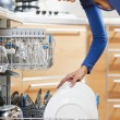 Woman using dishwasher - Stok fotoğraf