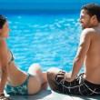 Young couple doing honeymoon in resort - 图库照片
