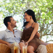 Happy husband and wife doing honeymoon in resort — Stock Photo #9305526