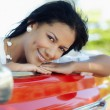 Stock Photo: Beautiful woman in cabriolet car