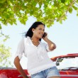 Stock Photo: Beautiful womon phone near cabriolet car