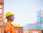Industrial worker in warehouse — Stock Photo