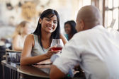 Man and woman dating at restaurant — Stock Photo