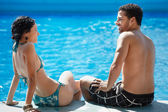 Young couple doing honeymoon in resort — Stock Photo