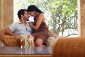 Happy husband and wife doing honeymoon in resort — Stock Photo