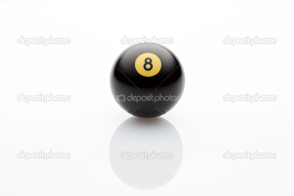 Studio shot of billiards ball number 8 on white background — Stock Photo #9306883